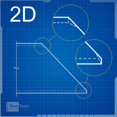 Blueprint 2D řezu profilu laserem