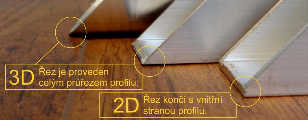 Zobrazení rozdílu mezi 2D a 3D řezáním profilu laserem